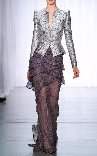 Embroidered Chiffon Skirt by ZAC POSEN for Preorder on Moda Operandi