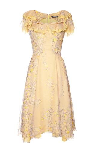 Medium zac posen yellow wisteria print chiffon dress