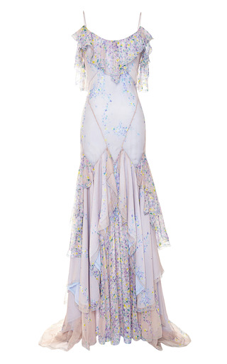 Medium zac posen blue wisteria print chiffon gown