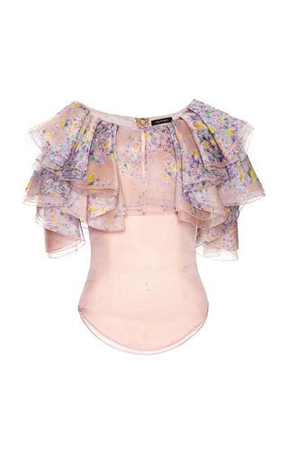 Medium zac posen multi wisteria print organza blouse