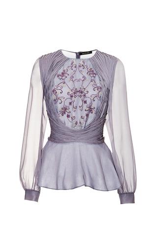 Medium zac posen dark grey french knot blouse