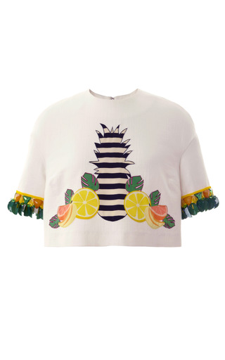 Fruits Embellished Yukon Cropped Tee by MOTHER OF PEARL for Preorder on Moda Operandi