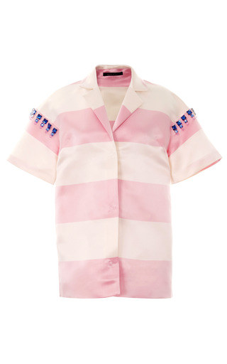 Medium mother of pearl stripe rio satin striped short sleeve shirt