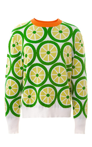 Medium mother of pearl lime green foyle lime round neck sweater