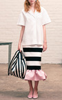 Kymi Stripe Jersey Peplum Skirt by MOTHER OF PEARL for Preorder on Moda Operandi