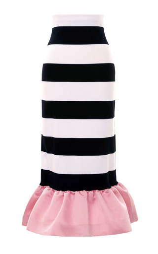 Medium mother of pearl stripe kymi stripe jersey peplum skirt