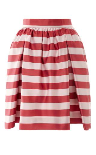 Medium mother of pearl burgundy cooper satin skirt in pinkburgundy stripe