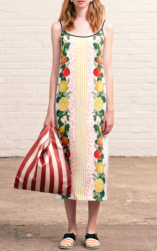 Bistra Heavy Crepe De Chine Strappy Fruits Dress by MOTHER OF PEARL for Preorder on Moda Operandi