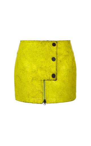 Medium opening ceremony yellow crackle leather snap mini skirt