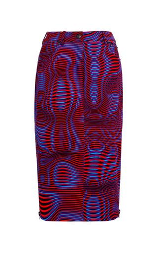 Medium opening ceremony multi water print jean skirt