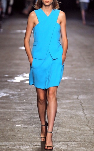 Celia Crepe Cross Front Top In Peony Blue by OPENING CEREMONY for Preorder on Moda Operandi