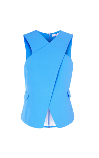 Medium opening ceremony blue celia crepe cross front top in peony blue
