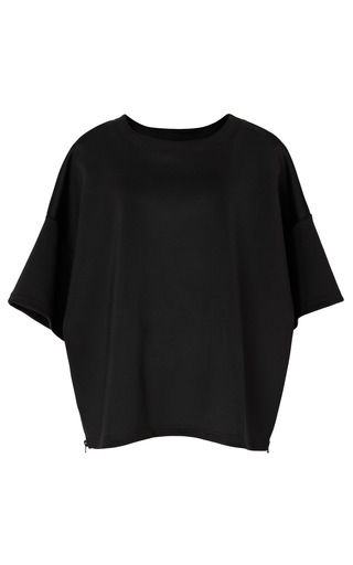 Medium opening ceremony black solid neoprene side zip tunic in black