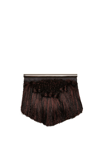 Medium proenza schouler brown brown tapestry with suede chrome bar clutch