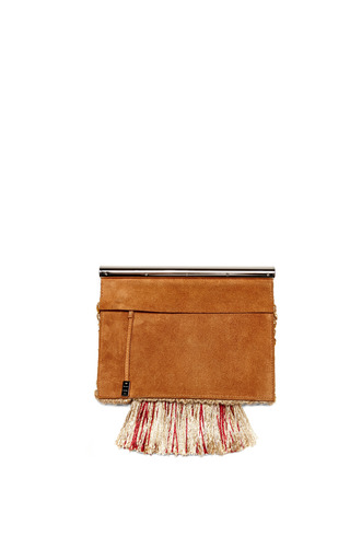 Colorblocked Tapestry With Suede Chrome Bar Clutch by PROENZA SCHOULER for Preorder on Moda Operandi