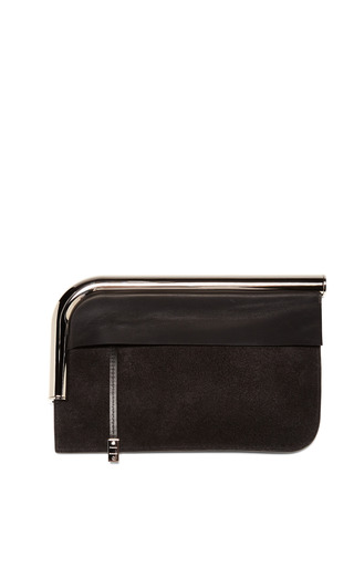 Medium proenza schouler black black colorblocked suede leather curved chrome bar clutch