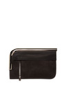 Black Colorblocked Suede Leather Curved Chrome Bar Clutch by PROENZA SCHOULER for Preorder on Moda Operandi