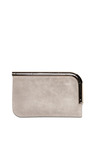 Stone Colorblocked Suede Leather Curved Chrome Bar Clutch by PROENZA SCHOULER for Preorder on Moda Operandi