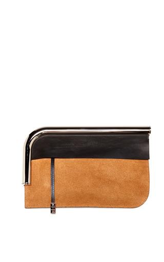 Medium proenza schouler black tobacco colorblocked suede leather curved chrome bar clutch