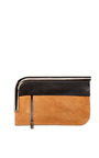 Tobacco Colorblocked Suede Leather Curved Chrome Bar Clutch by PROENZA SCHOULER for Preorder on Moda Operandi