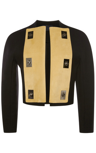 Medium proenza schouler black bonded suiting jacket with turnlocks