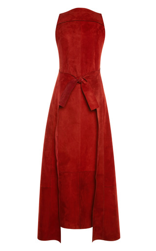 Medium proenza schouler burgundy burgundy raw suede sleeveless dress with tie front