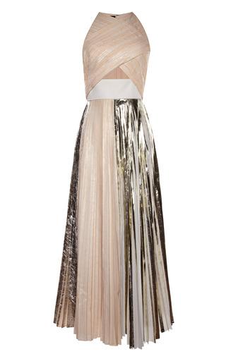 Medium proenza schouler silver platinum foil print pleated cloque sleeveless pleated dress