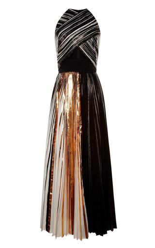 Medium proenza schouler white copper foil print pleated cloque sleeveless pleated dress