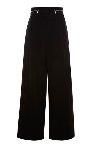 Medium proenza schouler black black suiting cropped high waisted snap front pant