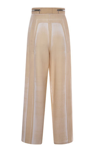 Medium proenza schouler print tan garment printed suiting cropped high waisted snap front pant