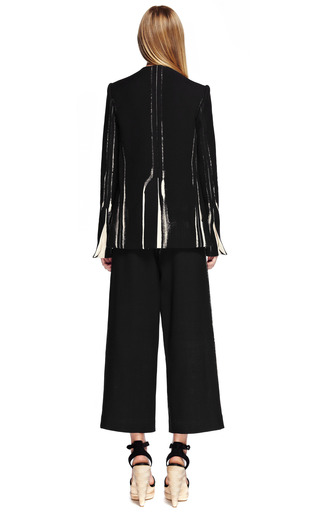 Black Garment Printed Suiting Cropped High Waisted Snap Front Pant by PROENZA SCHOULER for Preorder on Moda Operandi