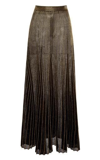 Medium proenza schouler gold gold metallic sunburst rib long skirt