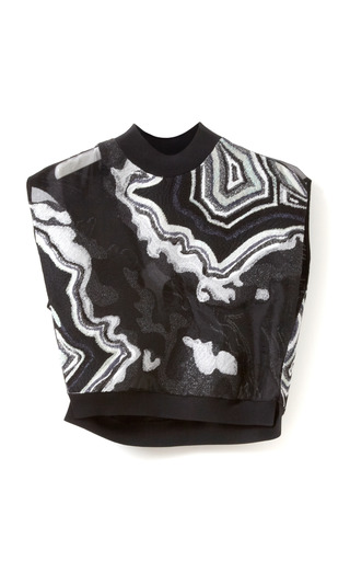 Medium 3 1 phillip lim black geode embroidered crop top