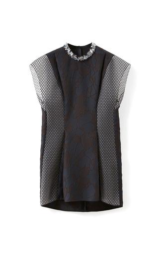 Medium 3 1 phillip lim blue cotton mesh insert top with crystal rocks neckline