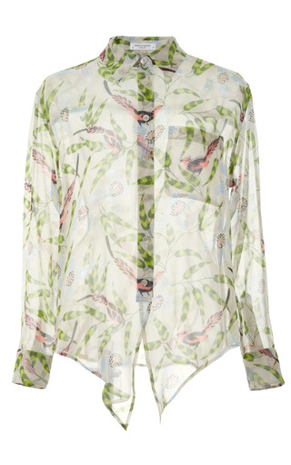 Oasis Floral Printed 8 Mm Flat Chiffon Daddy Tie Front by EQUIPMENT for Preorder on Moda Operandi