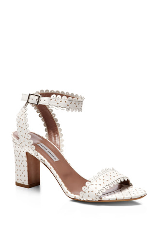 Scalloped Leather Block Heel Sandals by TABITHA SIMMONS Now Available on Moda Operandi