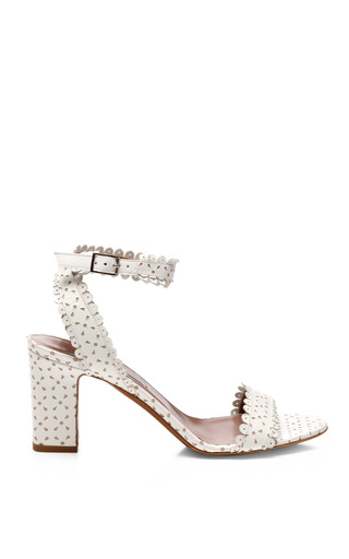 Medium tabitha simmons white scalloped leather block heel sandals