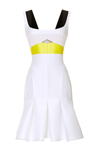 Medium j mendel white paneled colorblocked dress