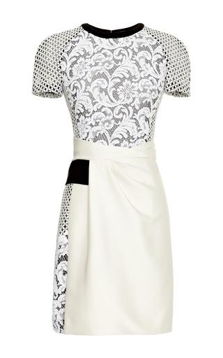 Medium j mendel white mixed lace trompe loeil t shirt dress