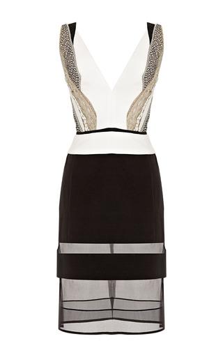 Medium j mendel black v neck fitted silk crepe dress