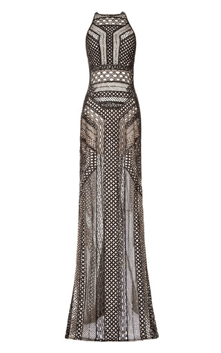 Medium j mendel black graphic lace fully embroidered gown