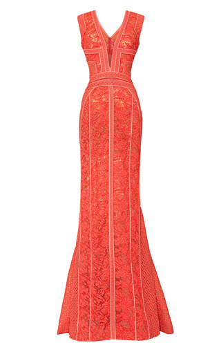 Medium j mendel pink paneled v neck sleeveless gown