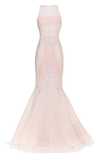Medium j mendel pink boat neck pieced gown