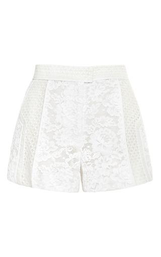 Medium j mendel white paneled mixed lace flat front short