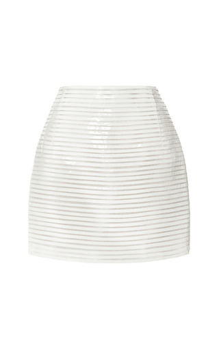 Horizontal Sliced Strip Mounted Patent Leather Mini Skirt by J. MENDEL for Preorder on Moda Operandi