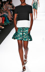 Metallic Leaf Jacquard Skirt by J. MENDEL for Preorder on Moda Operandi