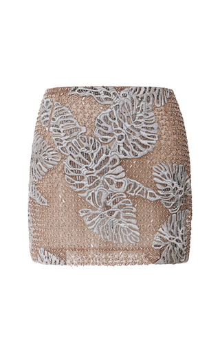 Leaf Motif Embroidered Tulle Mini Skirt by J. MENDEL for Preorder on Moda Operandi