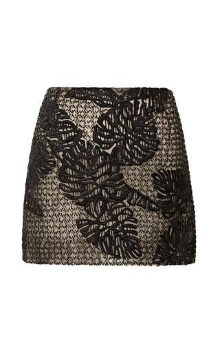Medium j mendel black leaf motif embroidered tulle mini skirt 2