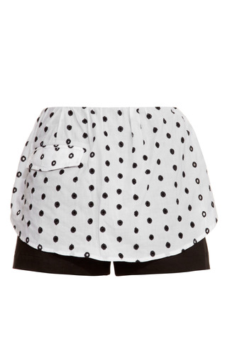 Embroidered Cotton Eyelet Shirttail Shorts by THAKOON ADDITION for Preorder on Moda Operandi
