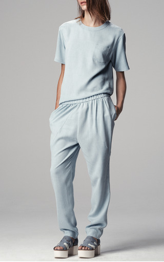 Denim Tencel Zip Shoulder Tee by THAKOON ADDITION for Preorder on Moda Operandi